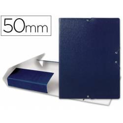 Carpeta de proyectos Liderpapel de carton con gomas. Folio. azul. 5 cm