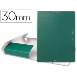 Carpeta de proyectos Liderpapel de carton con gomas. Folio. Verde. 3 cm