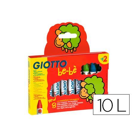 Lapices cera Giotto be-be 10 unidades colores surtidos y sacapuntas