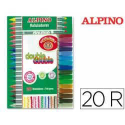 Rotulador Duo Alpino punta doble media y gruesa lavable caja de 20 rotuladores