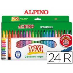 Rotulador Alpino Maxi punta gruesa lavable caja 24 rotuladores
