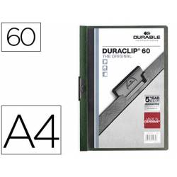Carpeta dossier con pinza central duraclip Durable 60 hojas Din A4 verde oscuro