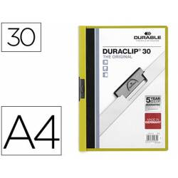 Carpeta dossier con pinza central duraclip Durable 30 hojas Din A4 verde