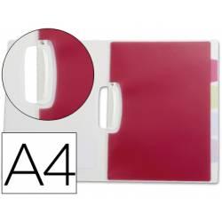 Carpeta dossier 5 separadores pinza lateral Beautone Din A4 transparente
