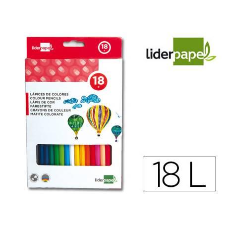Lapices de colores Liderpapel hexagonal caja 18 unidades