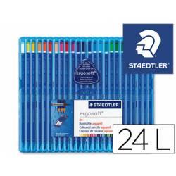 Lapices de colores Staedler acuarelables Ergosoft triangular mina fina 3 mm caja de 24 lapices
