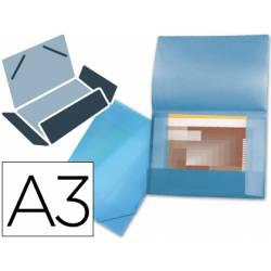 Carpeta de gomas lomo flexible con solapas Liderpapel Din A3 azul