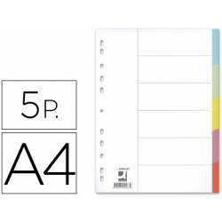 Separadores de cartulina Q-Connect multitaladro A4 Juego de 5