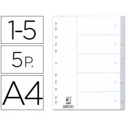 Separadores de plastico Q-Connect numericos multitaladro A4