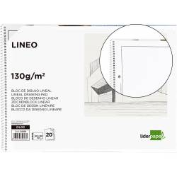 Bloc Liderpapel de dibujo blanco microperforado folio con recuadro
