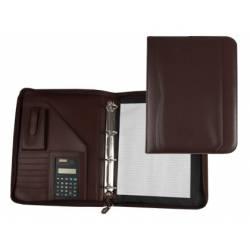 Portadocumentos tipo Carpeta Csp Marron con calculadora y bolsa para movil