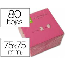 Bloc quita y pon Q-Connect 75x75mm Rosa Neon