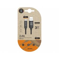 CABLE USB 2.4 TECH ONE TECH BRAIDED NYLON TIPO USB-C MULTI MICRO USB LONGITUD 1 MT NEGRO