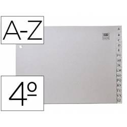 Separador alfabetico Elba plastico Cuarto 2 taladros color gris