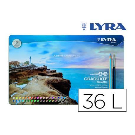 Lapices de colores Lyra Graduate Aquarell Caja Metálica 36 colores + Pincel