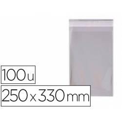 Bolsa de plastico Apli 250x330 mm autocierre adhesivo. Paquete de 100 unidades