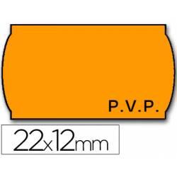 Rollo etiquetas adhesivas meto fluor naranja