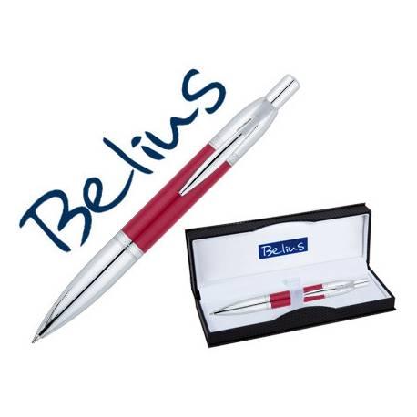 Bolígrafo Belius Perpignan 1mm Tinta Azul Lacado en Rojo con Adornos Cromados con Estuche