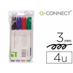 Rotulador Q-Connect pizarra blanca estuche 4 colores surtidos punta redonda trazo 3.0 mm