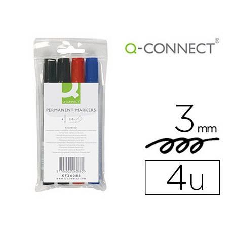 Rotulador Q-Connect permanente estuche 4 colores surtidos punta redonda trazo 3.0 mm