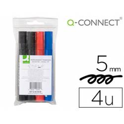 Rotulador Q-Connect permanente estuche 4 colores surtidos punta biselada trazo 5.0 mm