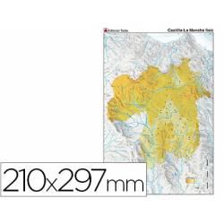 Mapa mudo físico Castilla La Mancha Din A4