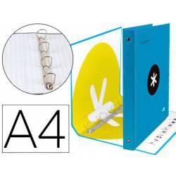 Carpeta 4 anillas 40mm Liderpapel Antartik A4 azul carton forrado