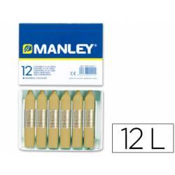 Lapices cera blanda Manley caja 12 unidades color tierra sombra natural
