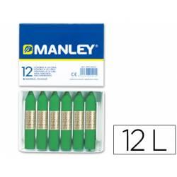 Lapices cera blanda Manley caja 12 unidades color verde primavera
