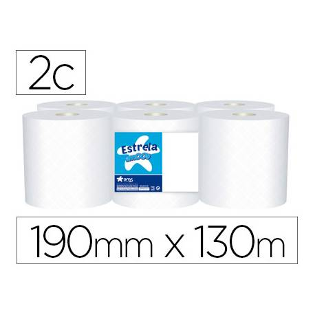 Papel secamanos Amoos 2 capas de pura celulosa. Paquete de 6 rollos