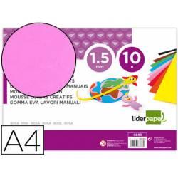 Goma eva liderpapel rosa paquete de 10 hojas