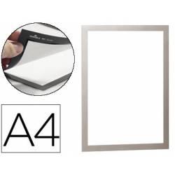 Porta anuncios magnetico adhesivo A4 plata
