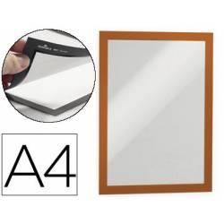 Porta anuncios magnetico adhesivo A4 naranja