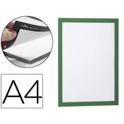 Porta anuncios magnetico adhesivo A4 verde