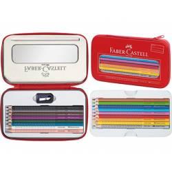 Plumier Faber Castell metálico con cremallera color rojo