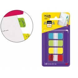 Banderitas Post-it ® separadoras rígidas Index dispensador 4 colores 15,8 x 38 mm