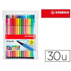Rotulador Stabilo pen 68 Neon estuche 24+6 neón