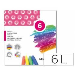 Lápices de cera blanda Liderpapel caja 6 unidades