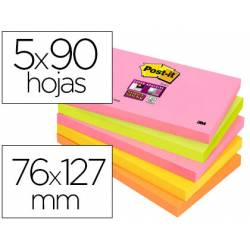 Pack 5 blocs de Post-it ® 76 x 127 mm