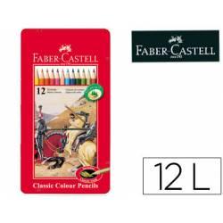 Lapices de colores Faber Castell hexagonales caja de metal 12 unidades