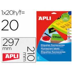 Etiqueta adhesiva Apli Din A4 verde fluorescente