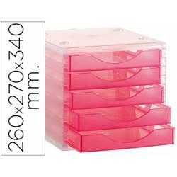 Modulo 5 cajones sobremesa Archivo 2000 rosa