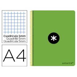 Bloc Antartik Folio Cuadrícula tapa Dura 100g/m2 color Verde Flúor con margen