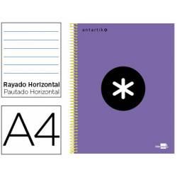 Bloc Antartik A4 Rayado Horizontal tapa Forrada 100g/m2 color Violeta 5 bandas de color