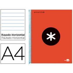 Bloc Antartik A4 Rayado Horizontal tapa Forrada 100g/m2 color Rojo 5 bandas de color