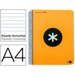 Bloc Antartik A4 Rayado Horizontal tapa Plástico 120 hojas 100g/m2 color Naranja 5 bandas color