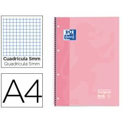 Cuaderno Oxford A4 Rosa Dulce Tapa Extradura 80 hojas Cuadrícula 5 mm