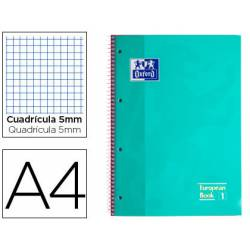 Cuaderno Oxford A4 Menta Hielo Tapa Extradura 80 hojas Cuadrícula 5 mm