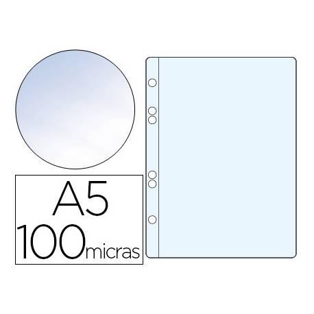 Funda multitaladro plastico Q-Connect Din A5 100 micras cristal