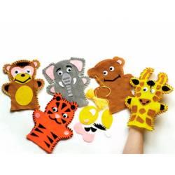 Conjunto de costura Marionetas de Animales de la Selva 4 unidades surtidas